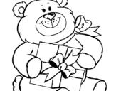 Dibujo de Oso con regalo para colorear