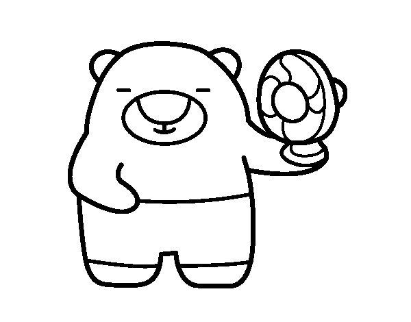 Dibujo de Oso con ventilador para Colorear