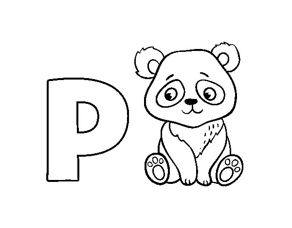 Dibujo de P de Panda para Colorear