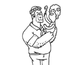 Dibujo de Padre e hija con flores