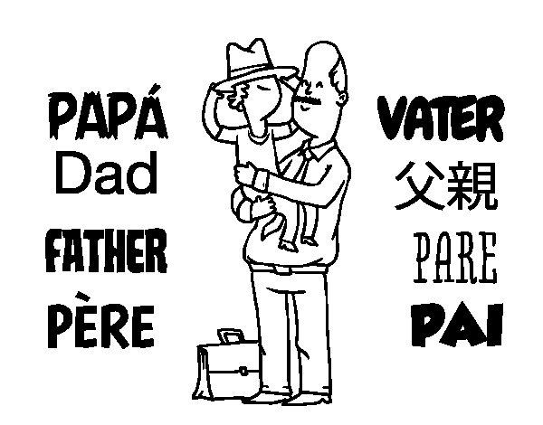 Dibujo de Padre e hijo con sombrero para Colorear