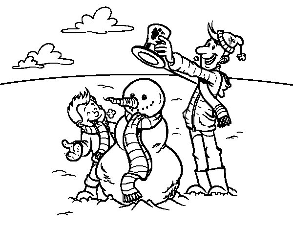Dibujo de Padre e hijo en la nieve para Colorear