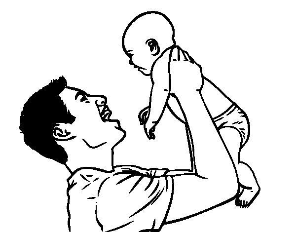 Dibujo de Padre y bebé para Colorear