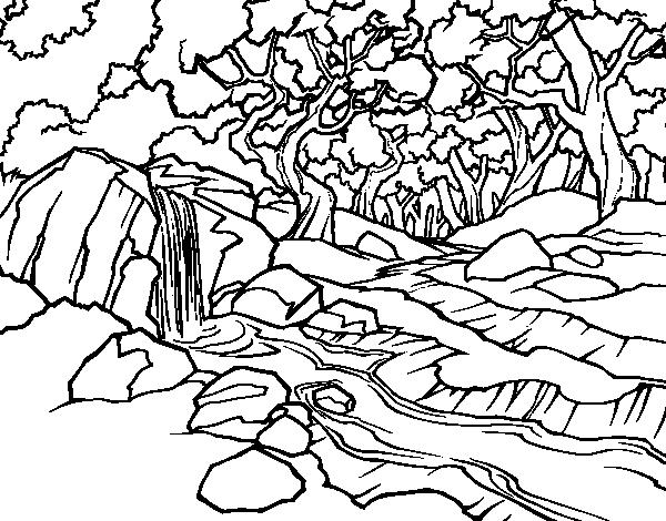 Dibujo de paisaje de bosque con un r o para colorear - Elfo immagini da stampare gratuitamente ...