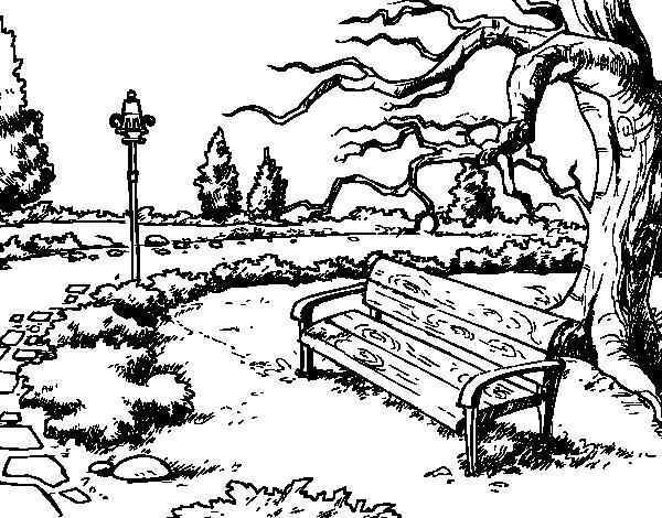 El Parque De Atracciones De Dibujos Animados Ven A Jugar: Dibujo De Paisaje De Parque Para Colorear
