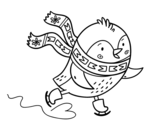 Dibujo de Pajarito patinando para colorear