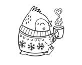 Dibujo de Pajarito tomando un té