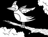 Dibujo de Pájaro en arbol para colorear