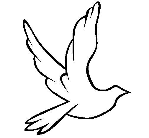 Dibujo de Paloma de la paz al vuelo para Colorear