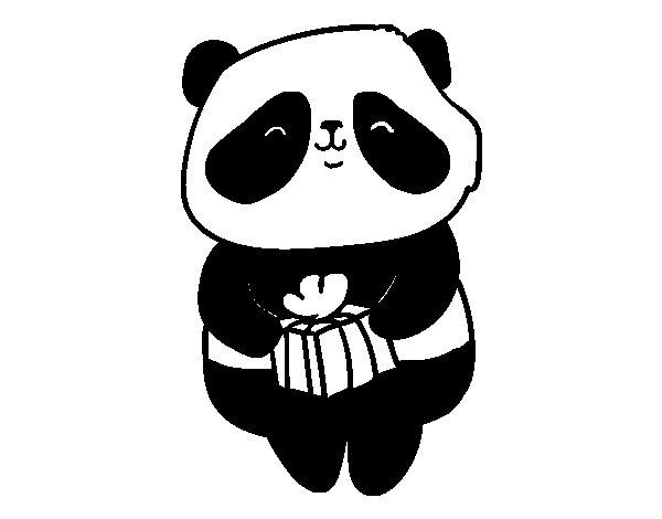 Dibujo de Panda con regalo para Colorear