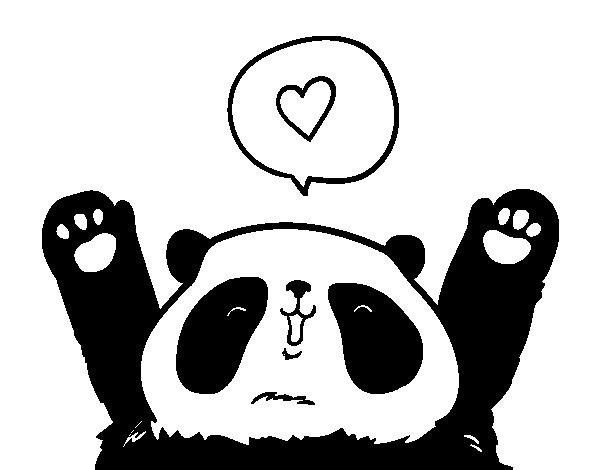 Dibujo de Panda enamorado para Colorear  Dibujosnet