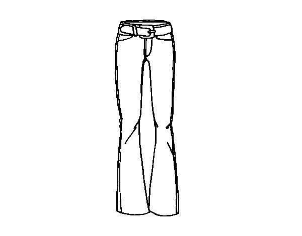 Colorear Dibujo Pantalón En Línea: Dibujo De Pantalones Acampanados Para Colorear