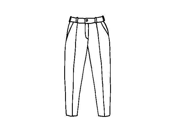 Colorear Dibujo Pantalón En Línea: Dibujo De Pantalones De Pinzas Para Colorear