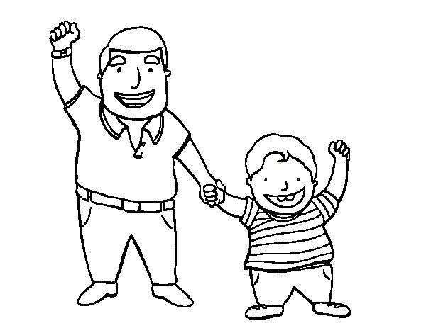 Dibujo de Papá e hijo para Colorear - Dibujos.net
