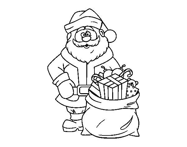 Dibujo de Papá Noel con bolsa de regalos para Colorear