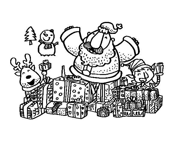 Dibujo de Papá Noel con regalos y alegría para Colorear