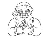 Dibujo de Papá Noel con taza de café para colorear