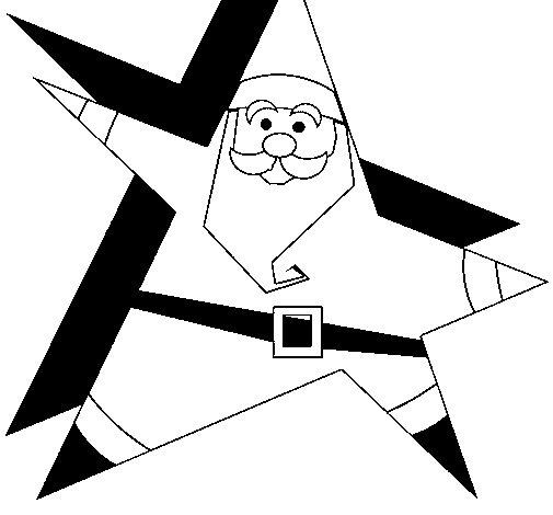 Dibujo de Papa Noel en forma de estrella para Colorear