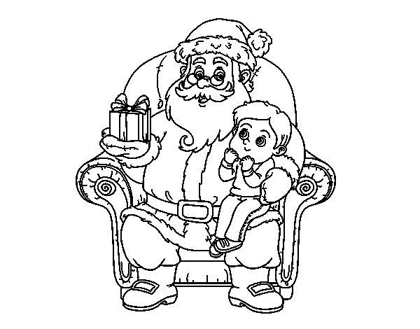 Dibujos De Papa Noel En Color Para Imprimir: Dibujo De Papá Noel Y Niño En Navidad Para Colorear