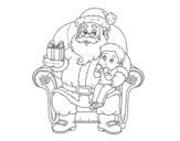 Dibujo de Papá Noel y niño en Navidad para colorear