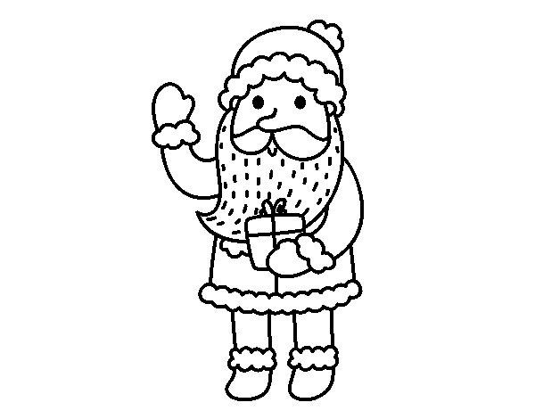 Dibujo de Papá Noel y su regalo para Colorear