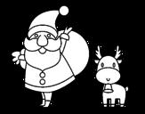 Dibujo de Papá Noel y un reno para colorear