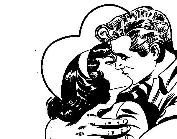 Dibujo de Pareja besándose para Colorear