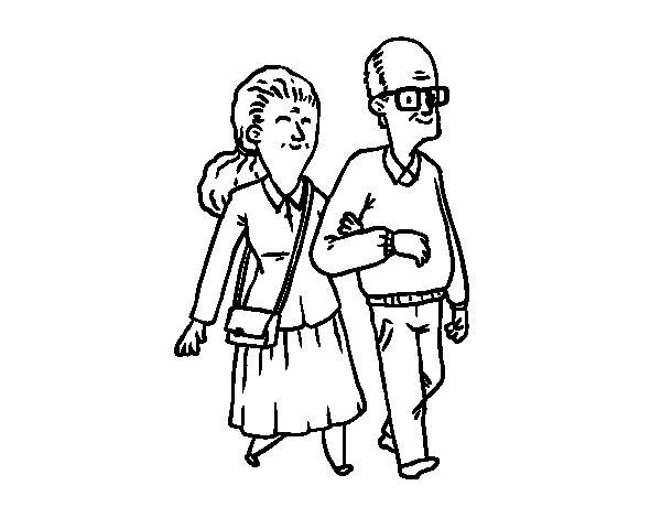 Dibujo de Pareja de abuelos para Colorear  Dibujosnet