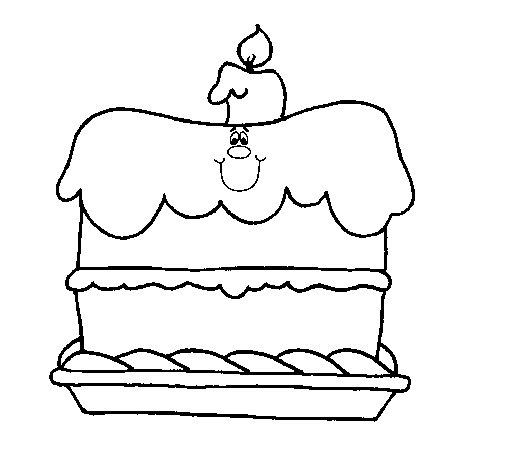Dibujo de Pastel de cumpleaños para Colorear
