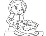 Dibujo de Pastel para mama II para colorear