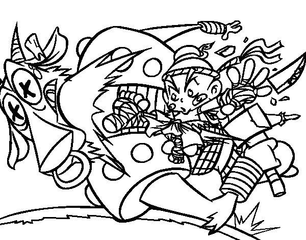 Dibujo de Patada ninja para Colorear