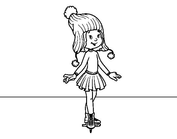 dibujo de patinadora sobre hielo con gorro para colorear dibujosnet