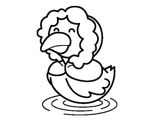 Dibujo de Pato en invierno para Colorear