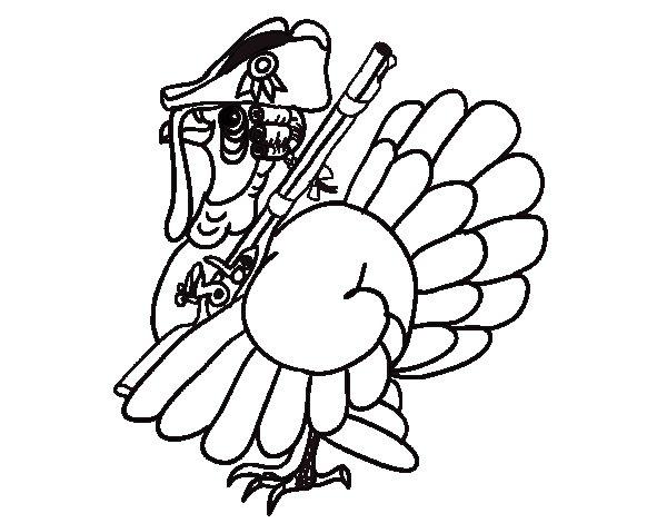 Dibujo de Pavo con escopeta para Colorear