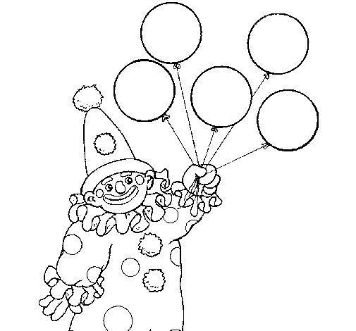 Dibujo de Payaso con globos para Colorear