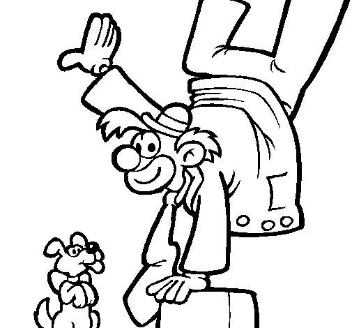 Dibujo de Payaso y perro para Colorear
