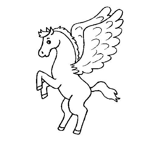 Dibujo de pegaso sobre dos patas para colorear for Disegni cavalli alati