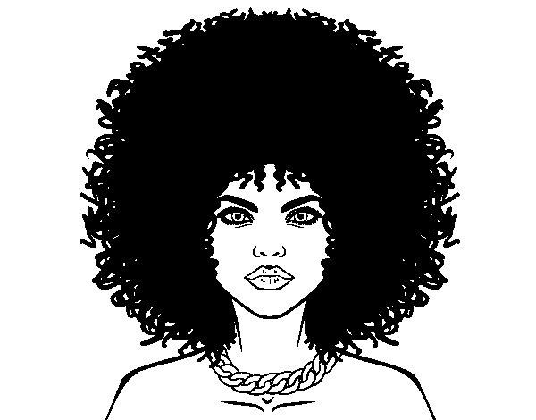 Dibujo de Peinado afro para Colorear