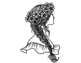 Dibujo de Peinado con trenza para colorear