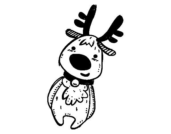 Dibujo de Peluche Reno de Navidad para Colorear