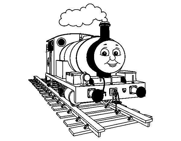 Dibujo de Percy sobre raíles para Colorear