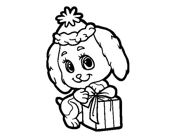 Dibujo de Perrito Navideño para Colorear