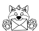 Dibujo de Perro con carta para colorear