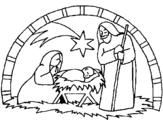 Dibujo de Pesebre de navidad para colorear