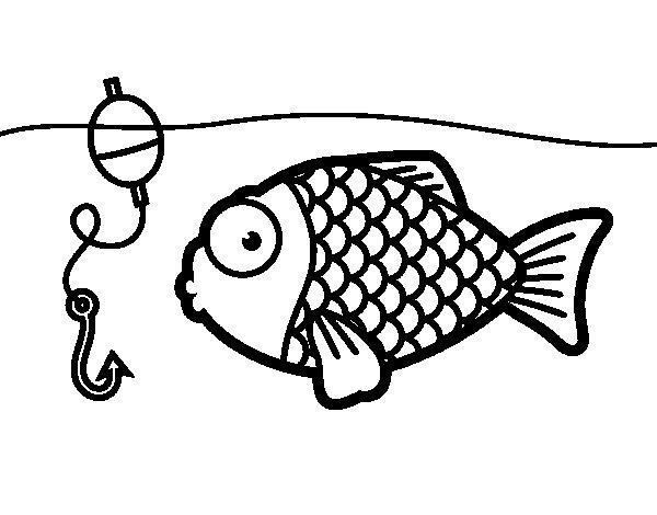 Dibujo de Pez apunto de picar el anzuelo para Colorear  Dibujosnet
