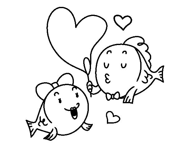 Dibujo de Pez enamorado para Colorear  Dibujosnet