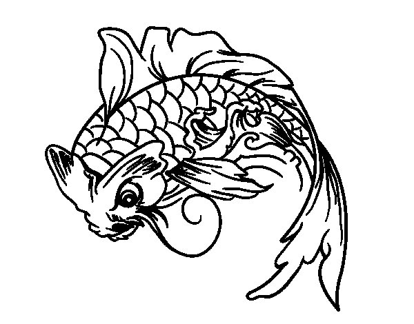 Dibujo de Pez Koi para Colorear - Dibujos.net