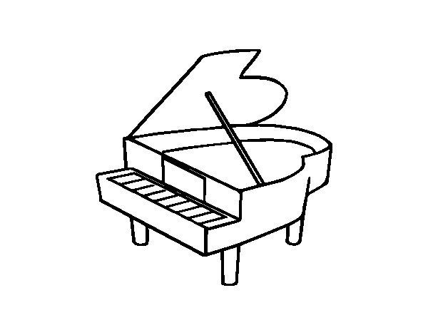 Dibujo de Piano de cola abierto para Colorear