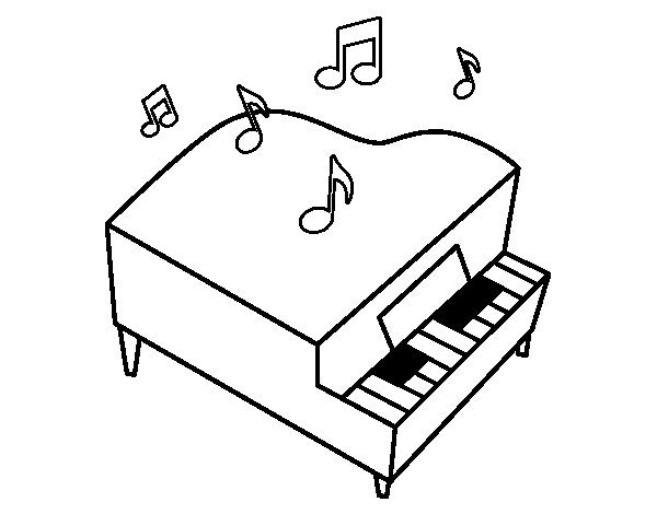 Dibujo de Piano de cola para Colorear