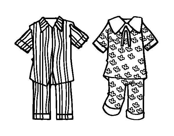 Pajama Clipart Coloring Pages